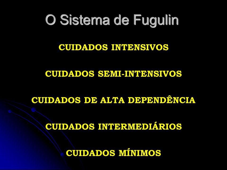 O Sistema de Fugulin CUIDADOS INTENSIVOS CUIDADOS SEMI-INTENSIVOS CUIDADOS DE ALTA DEPENDÊNCIA CUIDADOS INTERMEDIÁRIOS CUIDADOS MÍNIMOS