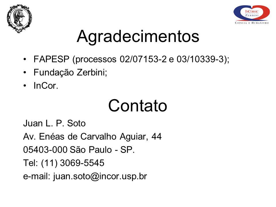 Agradecimentos FAPESP (processos 02/07153-2 e 03/10339-3); Fundação Zerbini; InCor. Contato Juan L. P. Soto Av. Enéas de Carvalho Aguiar, 44 05403-000