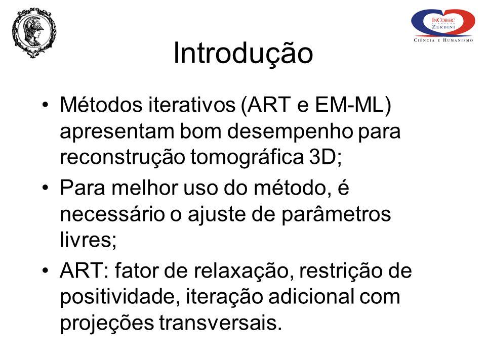 Introdução Métodos iterativos (ART e EM-ML) apresentam bom desempenho para reconstrução tomográfica 3D; Para melhor uso do método, é necessário o ajus