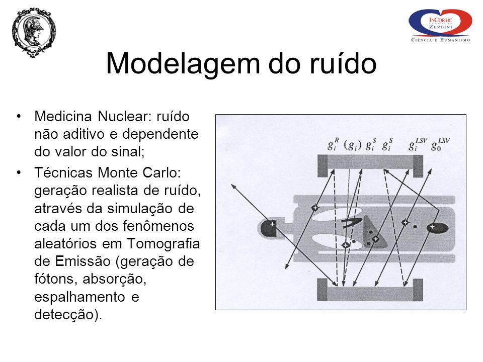 Modelagem do ruído Medicina Nuclear: ruído não aditivo e dependente do valor do sinal; Técnicas Monte Carlo: geração realista de ruído, através da sim