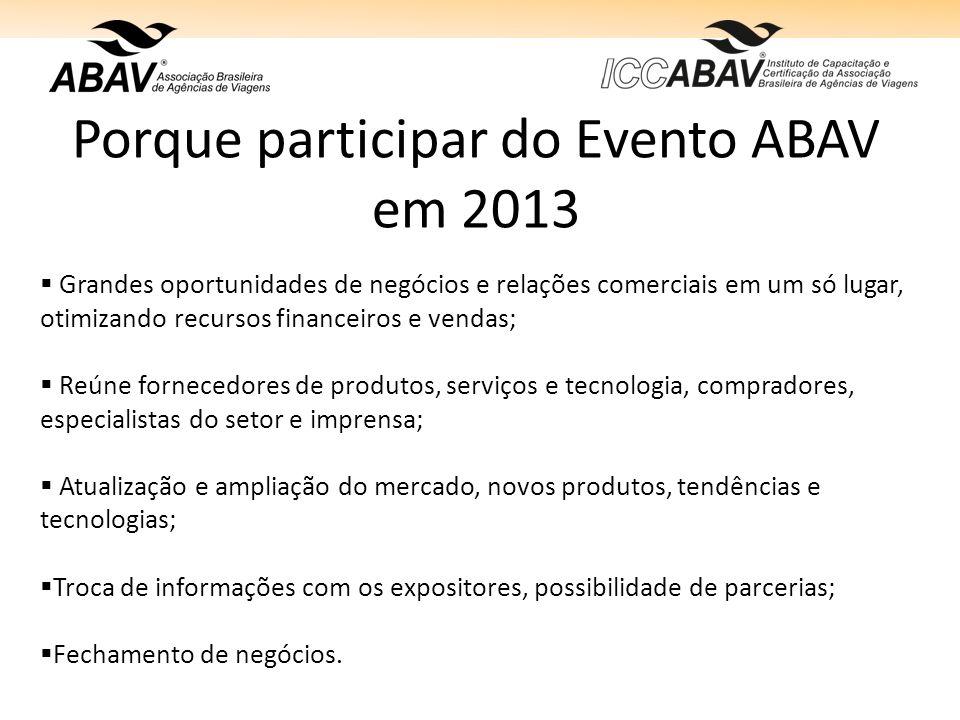 Porque participar do Evento ABAV em 2013 Grandes oportunidades de negócios e relações comerciais em um só lugar, otimizando recursos financeiros e ven
