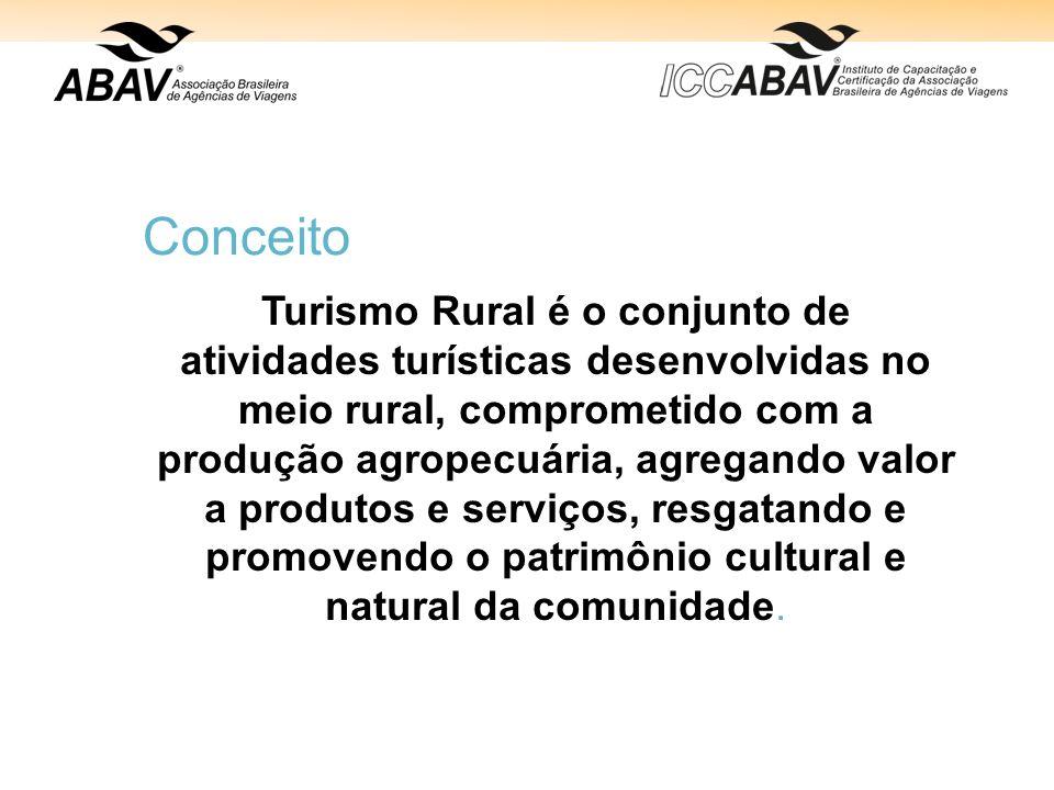 Conceito Turismo Rural é o conjunto de atividades turísticas desenvolvidas no meio rural, comprometido com a produção agropecuária, agregando valor a produtos e serviços, resgatando e promovendo o patrimônio cultural e natural da comunidade.