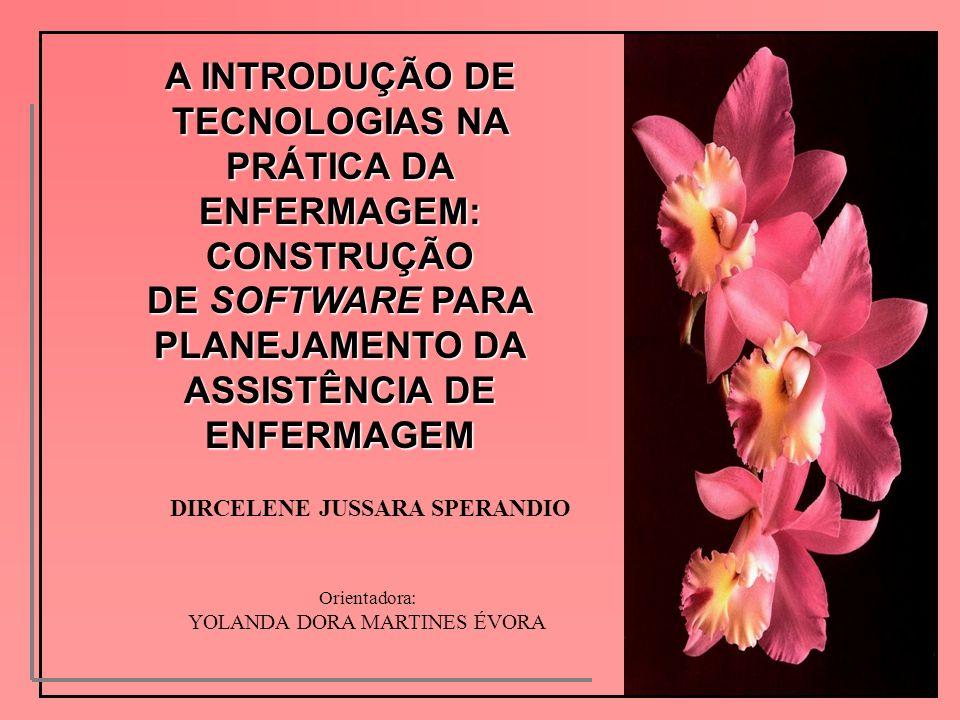 A INTRODUÇÃO DE TECNOLOGIAS NA PRÁTICA DA ENFERMAGEM: CONSTRUÇÃO DE SOFTWARE PARA PLANEJAMENTO DA ASSISTÊNCIA DE ENFERMAGEM DIRCELENE JUSSARA SPERANDI