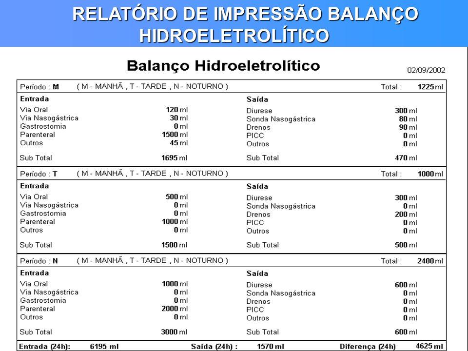 RELATÓRIO DE IMPRESSÃO BALANÇO HIDROELETROLÍTICO