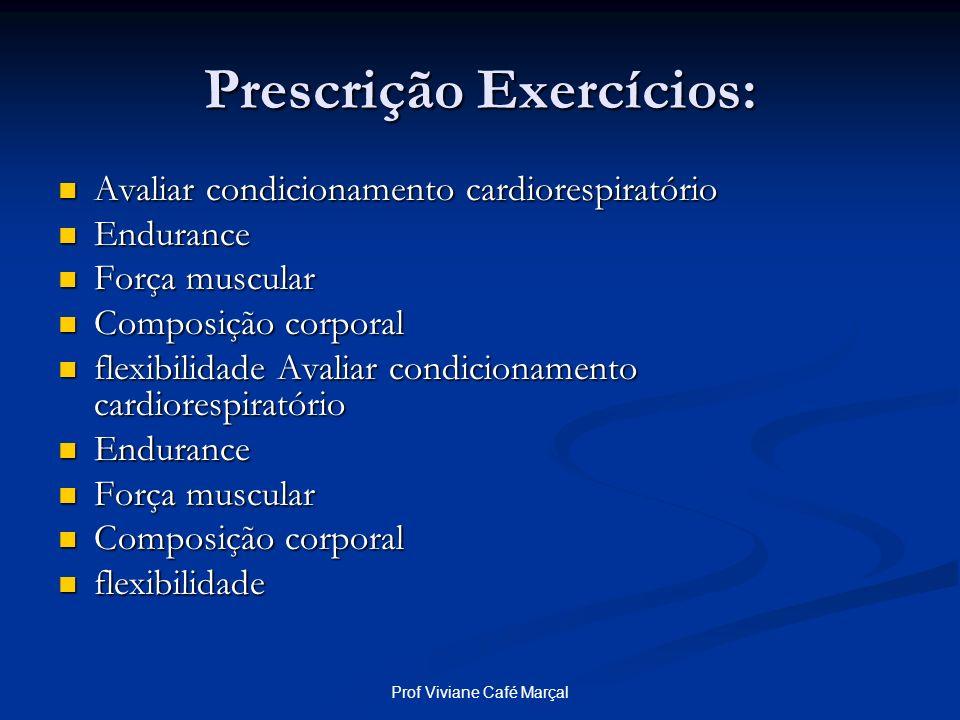 Prof Viviane Café Marçal Prescrição Exercícios: Avaliar condicionamento cardiorespiratório Avaliar condicionamento cardiorespiratório Endurance Endura