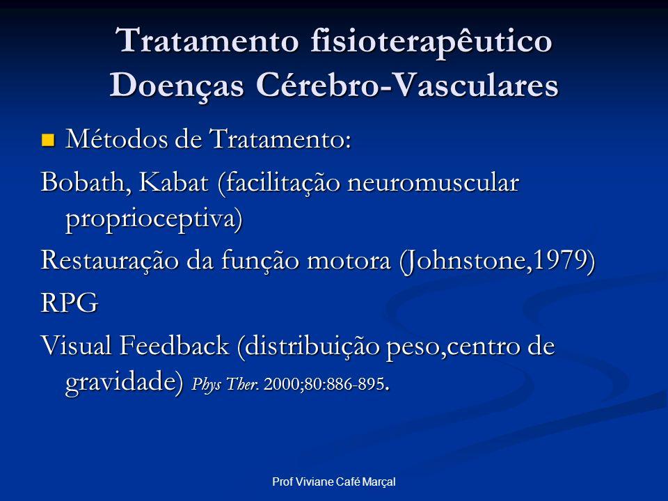 Prof Viviane Café Marçal Tratamento fisioterapêutico Doenças Cérebro-Vasculares Métodos de Tratamento: Métodos de Tratamento: Bobath, Kabat (facilitaç