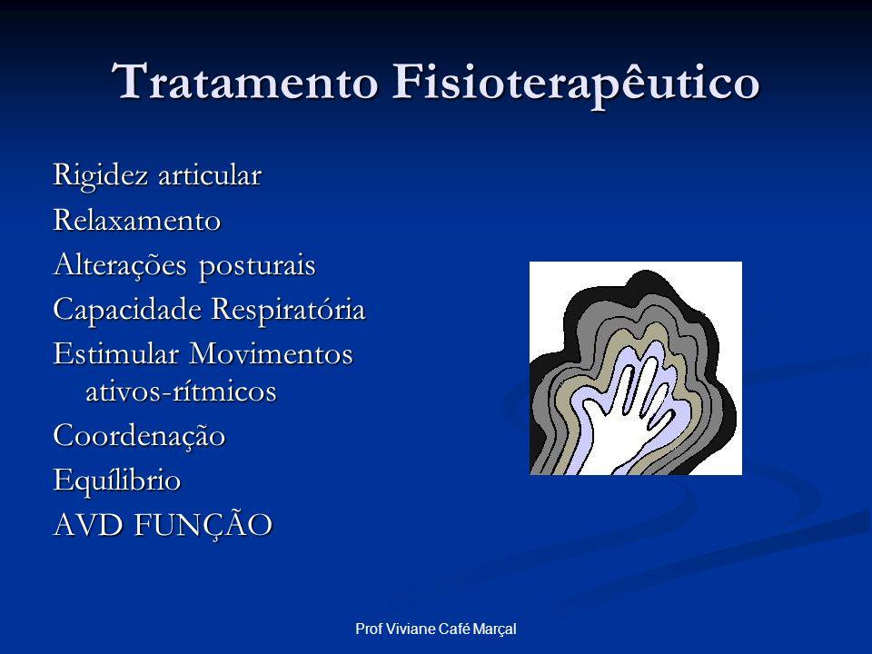 Prof Viviane Café Marçal Tratamento Fisioterapêutico Rigidez articular Relaxamento Alterações posturais Capacidade Respiratória Estimular Movimentos a