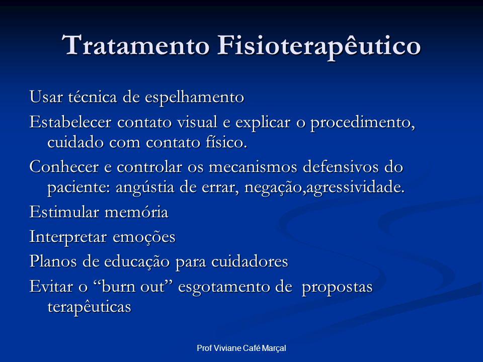 Prof Viviane Café Marçal Tratamento Fisioterapêutico Usar técnica de espelhamento Estabelecer contato visual e explicar o procedimento, cuidado com co