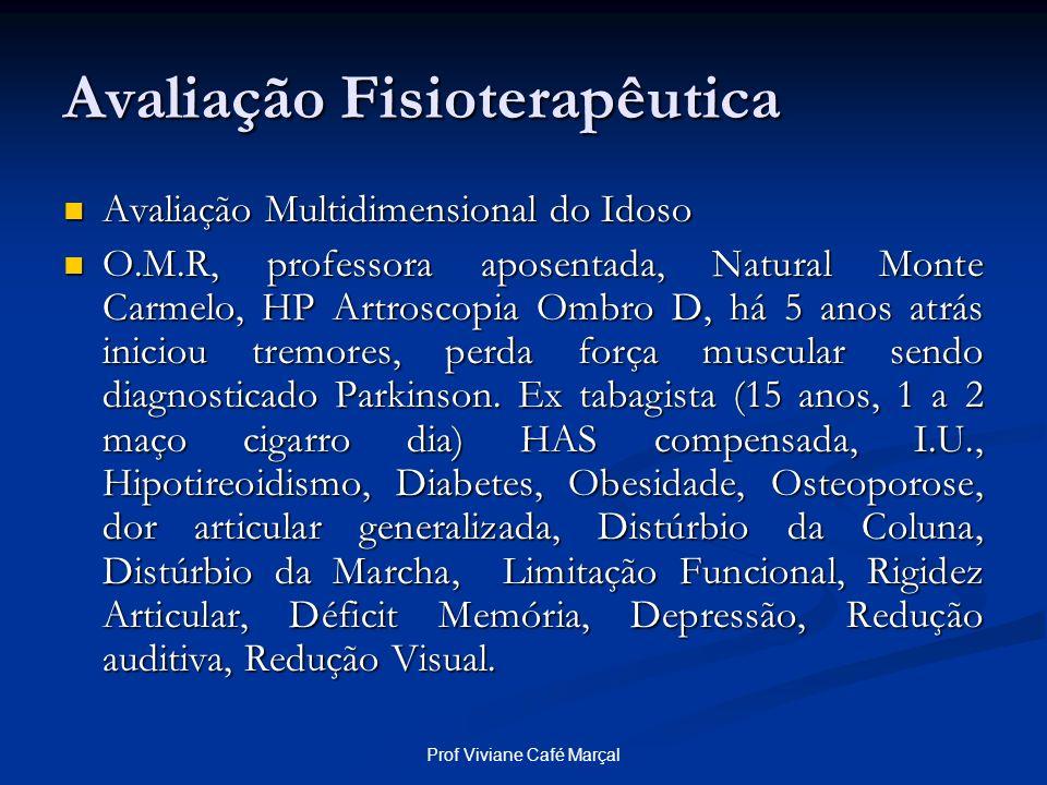 Prof Viviane Café Marçal Avaliação Fisioterapêutica Avaliação Multidimensional do Idoso Avaliação Multidimensional do Idoso O.M.R, professora aposenta