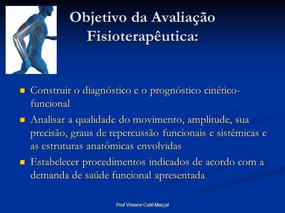 Prof Viviane Café Marçal Objetivo da Avaliação Fisioterapêutica: Construir o diagnóstico e o prognóstico cinético- funcional Construir o diagnóstico e