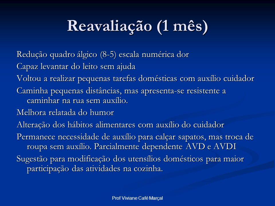 Prof Viviane Café Marçal Reavaliação (1 mês) Redução quadro álgico (8-5) escala numérica dor Capaz levantar do leito sem ajuda Voltou a realizar peque