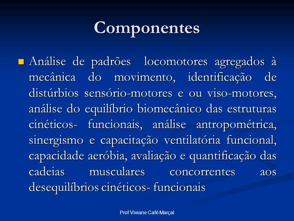 Prof Viviane Café Marçal Componentes Análise de padrões locomotores agregados à mecânica do movimento, identificação de distúrbios sensório-motores e