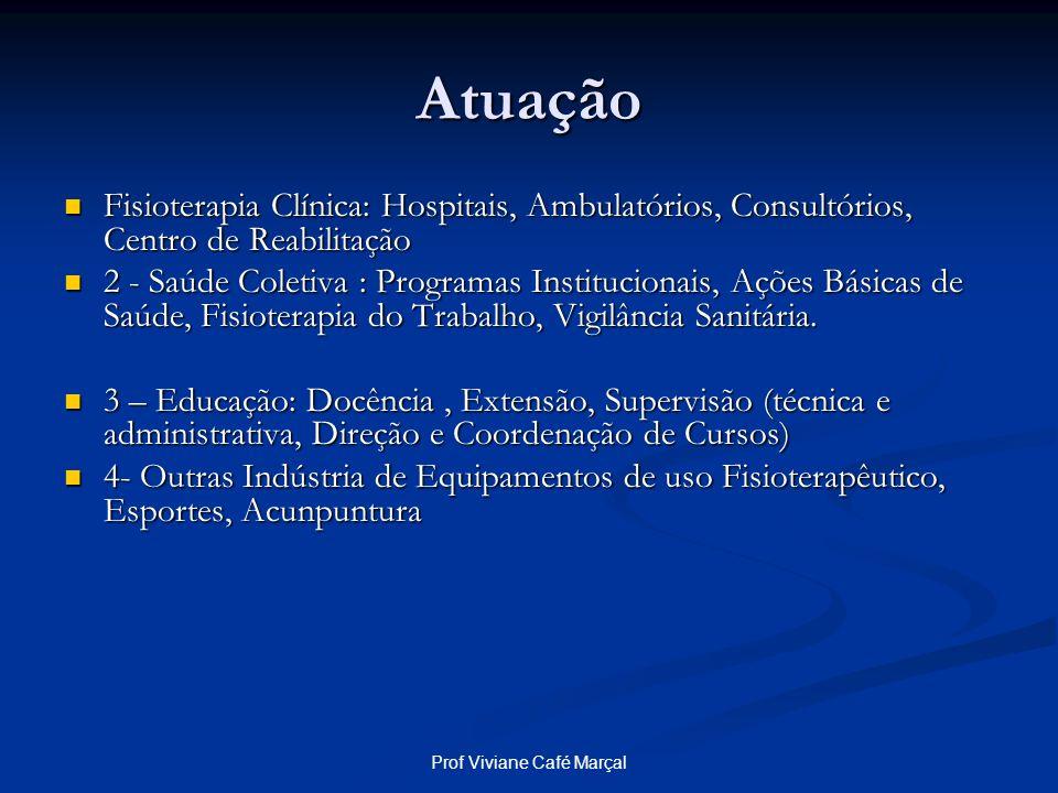 Prof Viviane Café Marçal Atuação Fisioterapia Clínica: Hospitais, Ambulatórios, Consultórios, Centro de Reabilitação Fisioterapia Clínica: Hospitais,