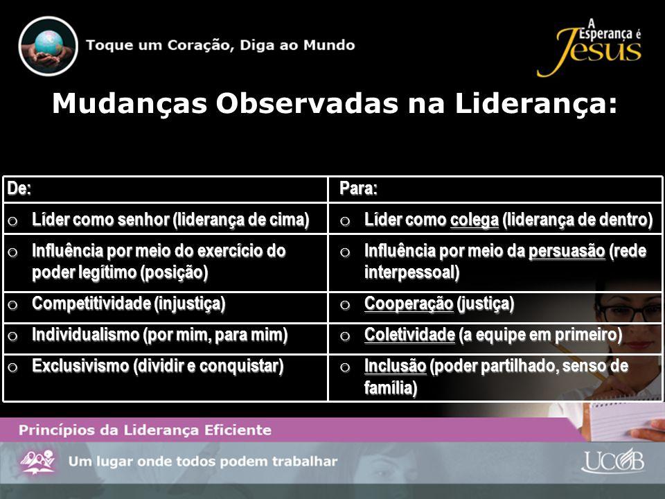 Mudanças Observadas na Liderança: De: o Líder como senhor (liderança de cima) o Influência por meio do exercício do poder legítimo (posição) o Competi