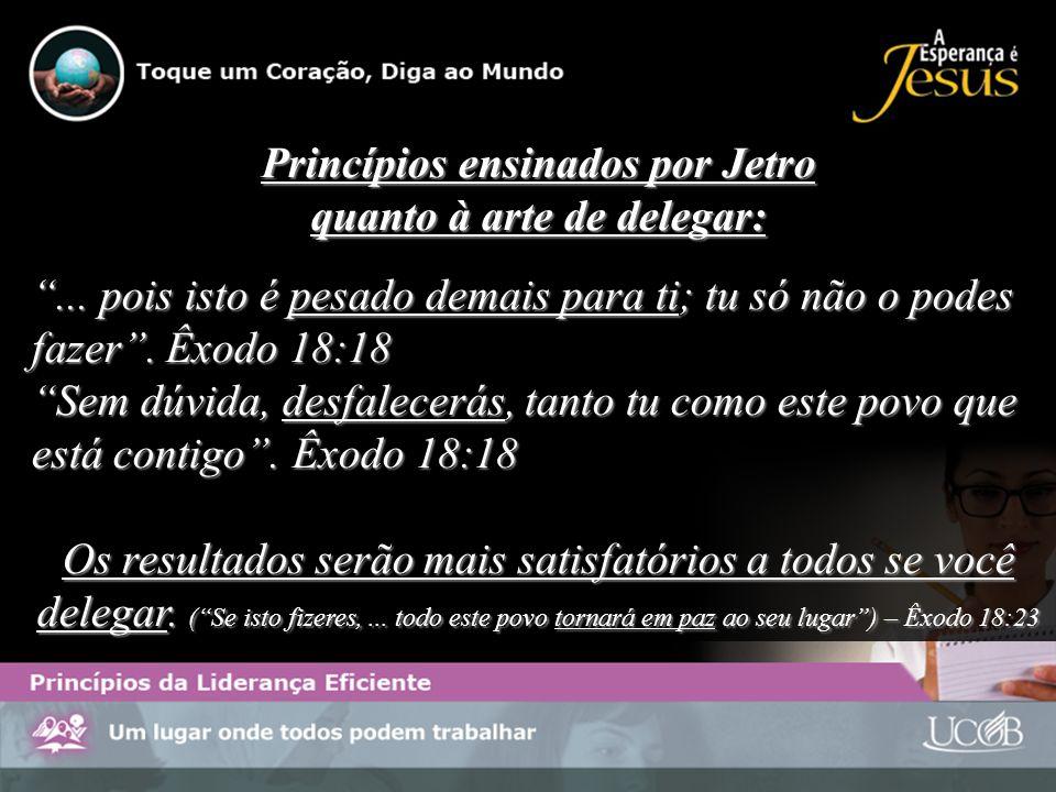 Princípios ensinados por Jetro quanto à arte de delegar:... pois isto é pesado demais para ti; tu só não o podes fazer. Êxodo 18:18 Sem dúvida, desfal