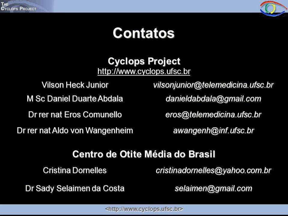 Contatos Cyclops Project http://www.cyclops.ufsc.br Vilson Heck Junior vilsonjunior@telemedicina.ufsc.br M Sc Daniel Duarte Abdala danieldabdala@gmail