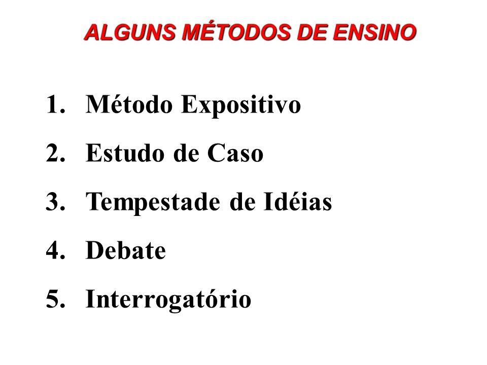 1.Método Expositivo 2.Estudo de Caso 3.Tempestade de Idéias 4.Debate 5.Interrogatório ALGUNS MÉTODOS DE ENSINO