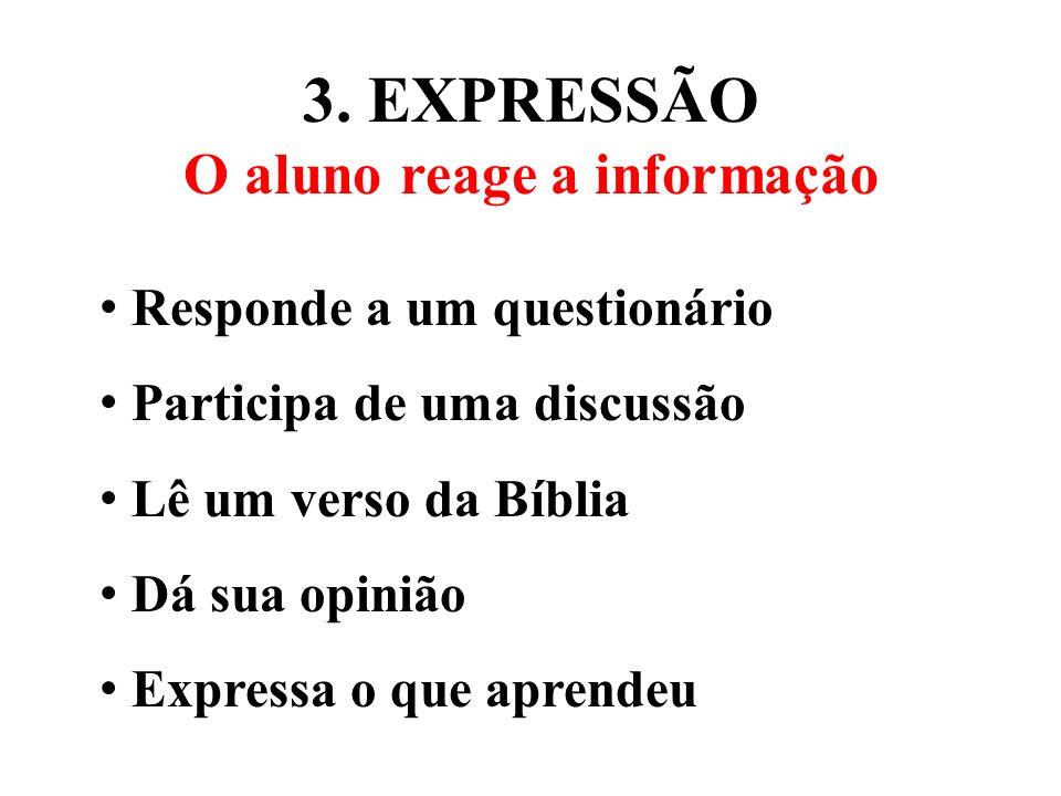 3. EXPRESSÃO O aluno reage a informação Responde a um questionário Participa de uma discussão Lê um verso da Bíblia Dá sua opinião Expressa o que apre