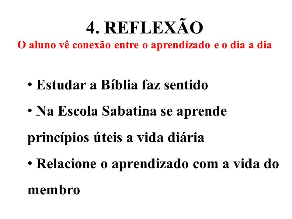 4. REFLEXÃO O aluno vê conexão entre o aprendizado e o dia a dia Estudar a Bíblia faz sentido Na Escola Sabatina se aprende princípios úteis a vida di