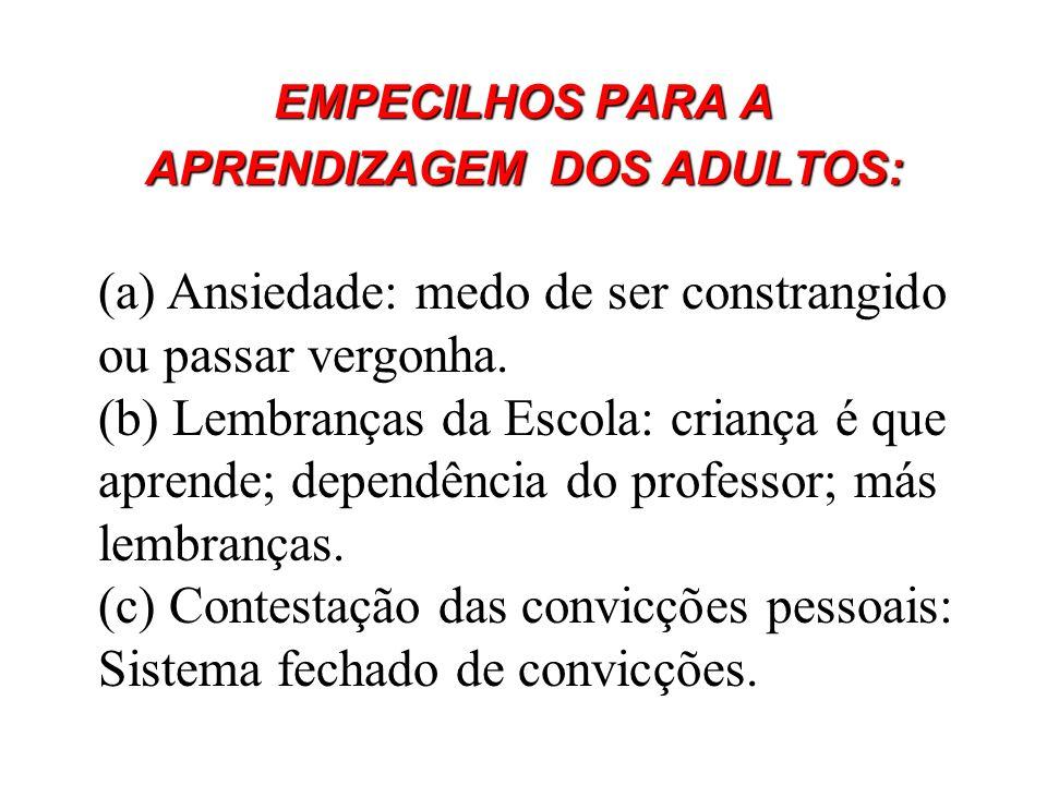EMPECILHOS PARA A APRENDIZAGEM DOS ADULTOS: (a) Ansiedade: medo de ser constrangido ou passar vergonha. (b) Lembranças da Escola: criança é que aprend