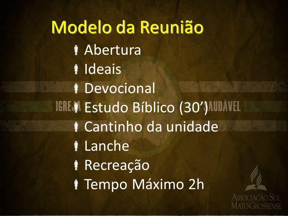 Modelo da Reunião Abertura Ideais Devocional Estudo Bíblico (30) Cantinho da unidade Lanche Recreação Tempo Máximo 2h