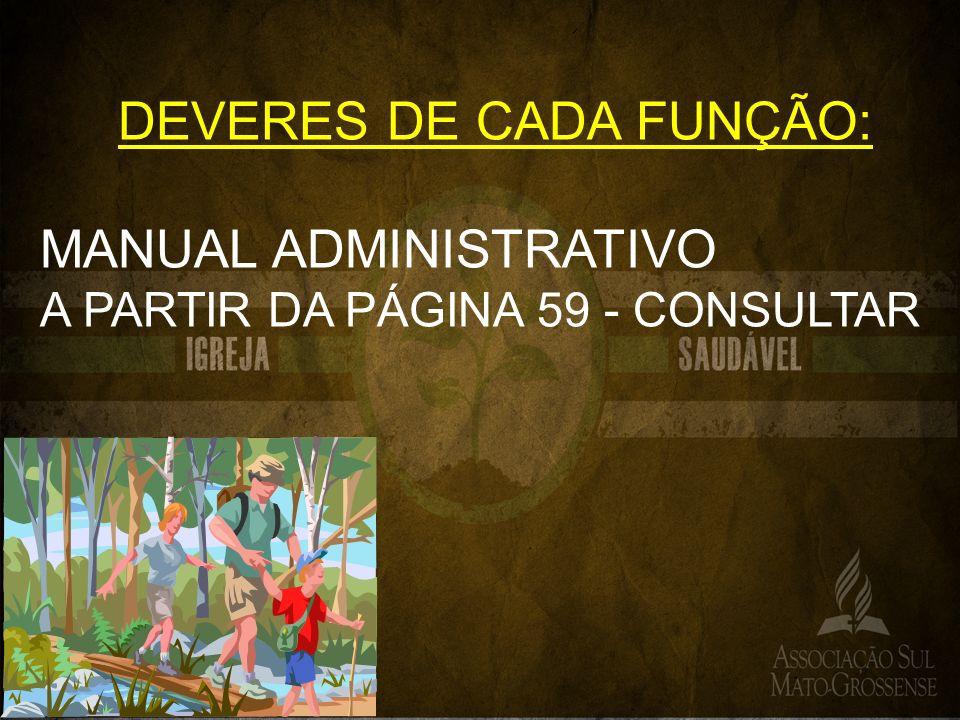 DEVERES DE CADA FUNÇÃO: MANUAL ADMINISTRATIVO A PARTIR DA PÁGINA 59 - CONSULTAR