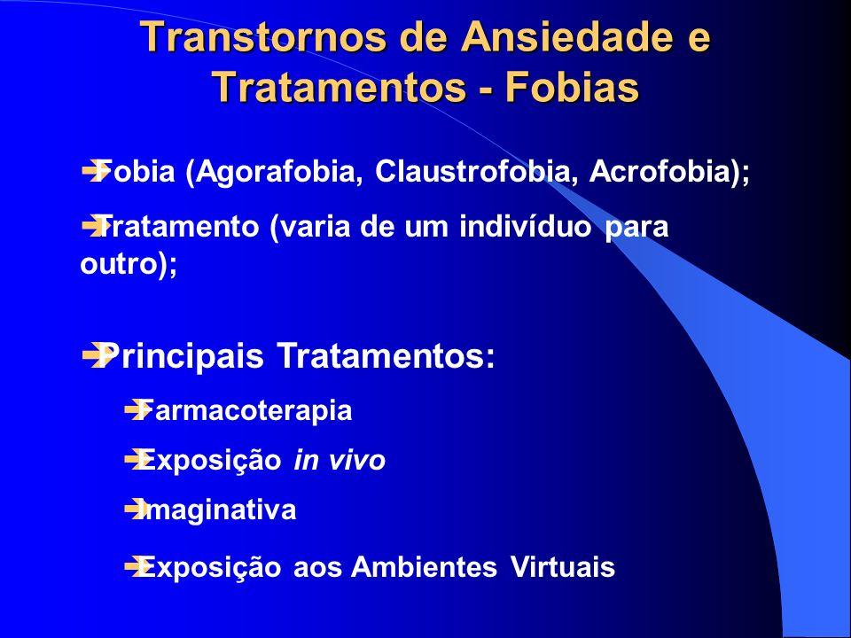 Transtornos de Ansiedade e Tratamentos - Fobias Fobia (Agorafobia, Claustrofobia, Acrofobia); Tratamento (varia de um indivíduo para outro); Principai