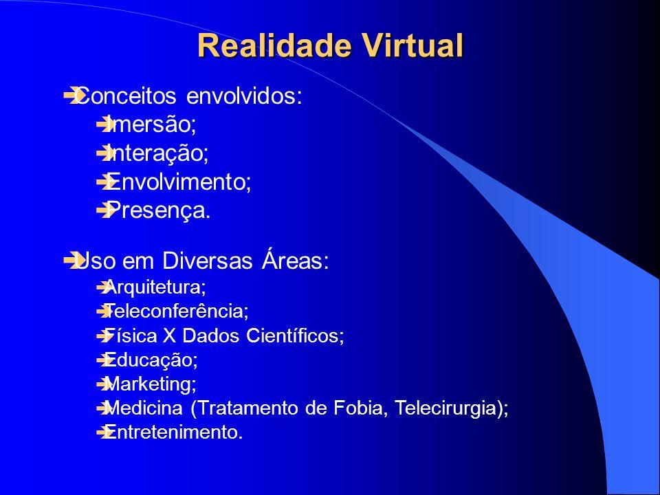 Realidade Virtual - Vantagens Abordagens terapêuticas tradicionais Vantagens no uso dos Ambientes Virtuais Exposição in vivo è custo; è Deslocamento; è Privacidade; è pacientes muito fóbicos; è controle; è exposição a diversos ambientes.