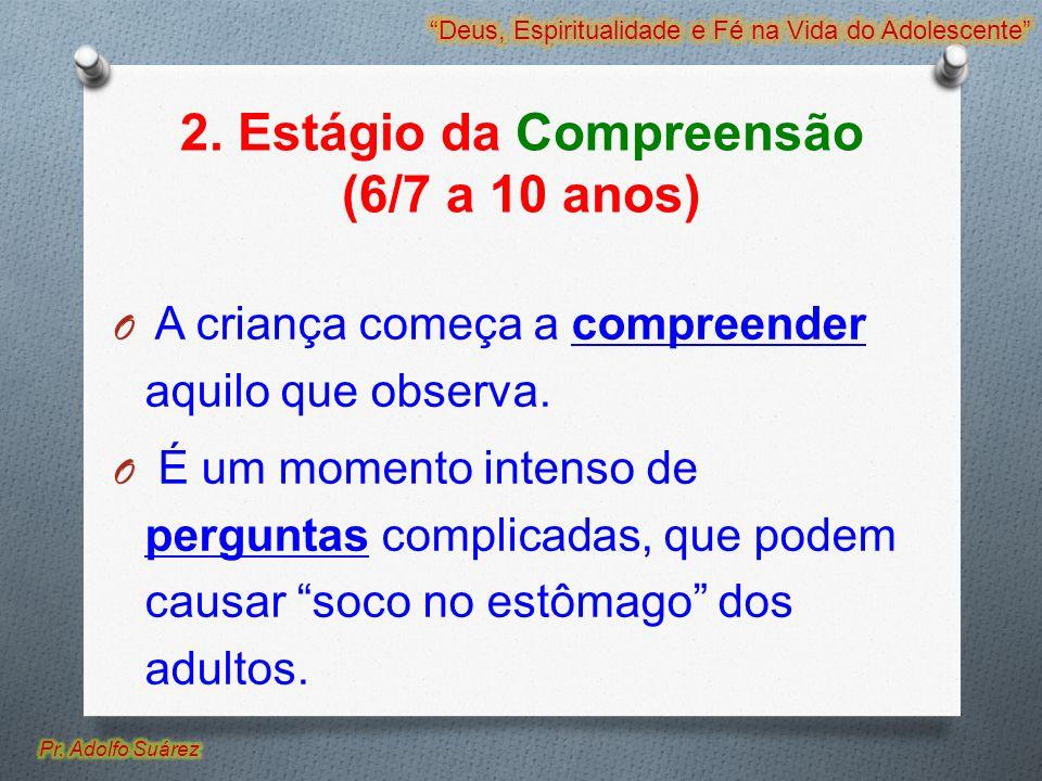 2. Estágio da Compreensão (6/7 a 10 anos) O A criança começa a compreender aquilo que observa. O É um momento intenso de perguntas complicadas, que po