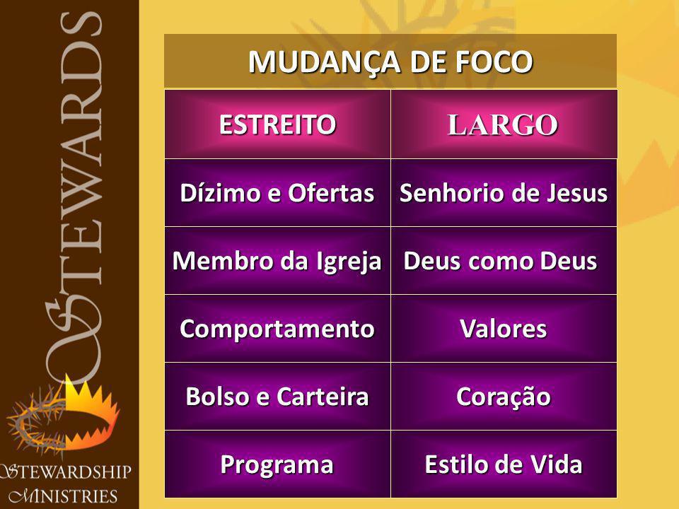 MUDANÇA DE FOCO Coração Dízimo e Ofertas Senhorio de Jesus Membro da Igreja Deus como Deus Programa Bolso e Carteira ValoresComportamento Estilo de Vida LARGOESTREITO