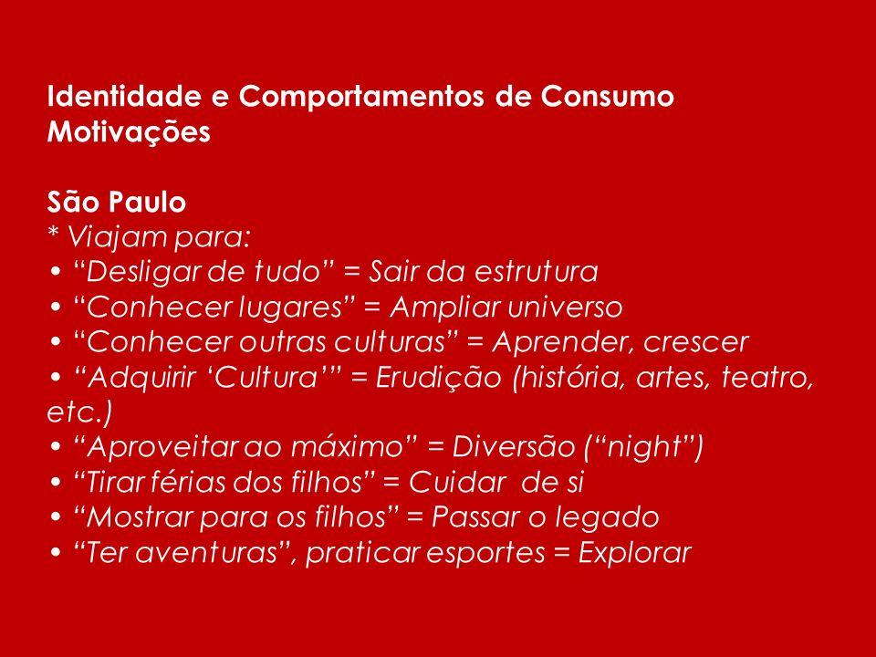 Estudo qualitativo sobre Comportamentos de Consumo e expêriencias memoráveis- 2009 - IMB /MTUR/Sebrrae Turistas ou viajantes? São Paulo * Predominânci