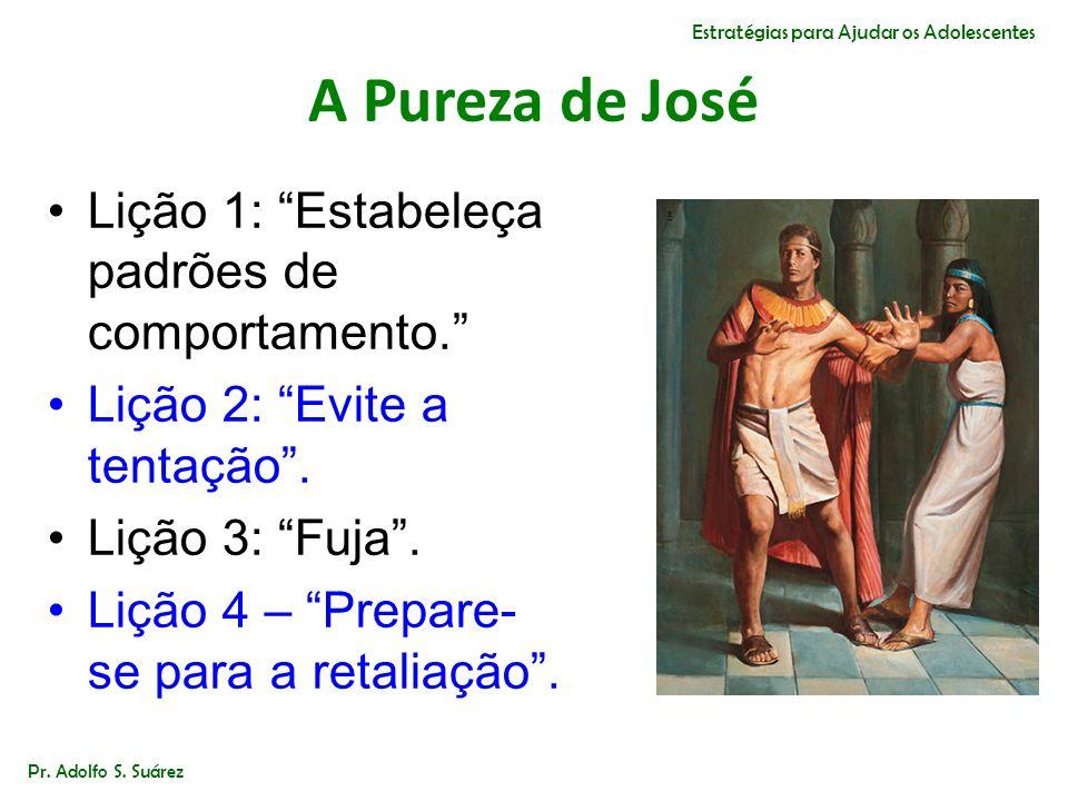 A Pureza de José Lição 1: Estabeleça padrões de comportamento. Lição 2: Evite a tentação. Lição 3: Fuja. Lição 4 – Prepare- se para a retaliação. Pr.