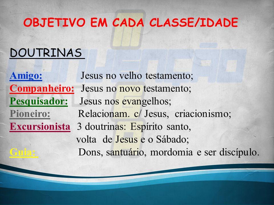 OBJETIVO EM CADA CLASSE/IDADE DOUTRINAS Amigo: Jesus no velho testamento; Companheiro: Jesus no novo testamento; Pesquisador: Jesus nos evangelhos; Pi