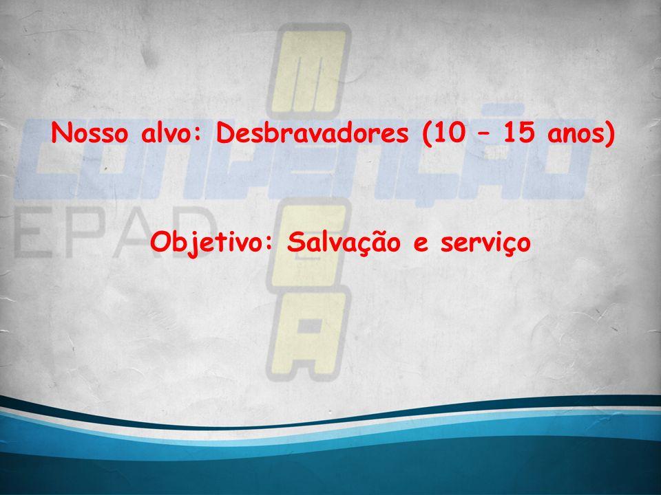Nosso alvo: Desbravadores (10 – 15 anos) Objetivo: Salvação e serviço