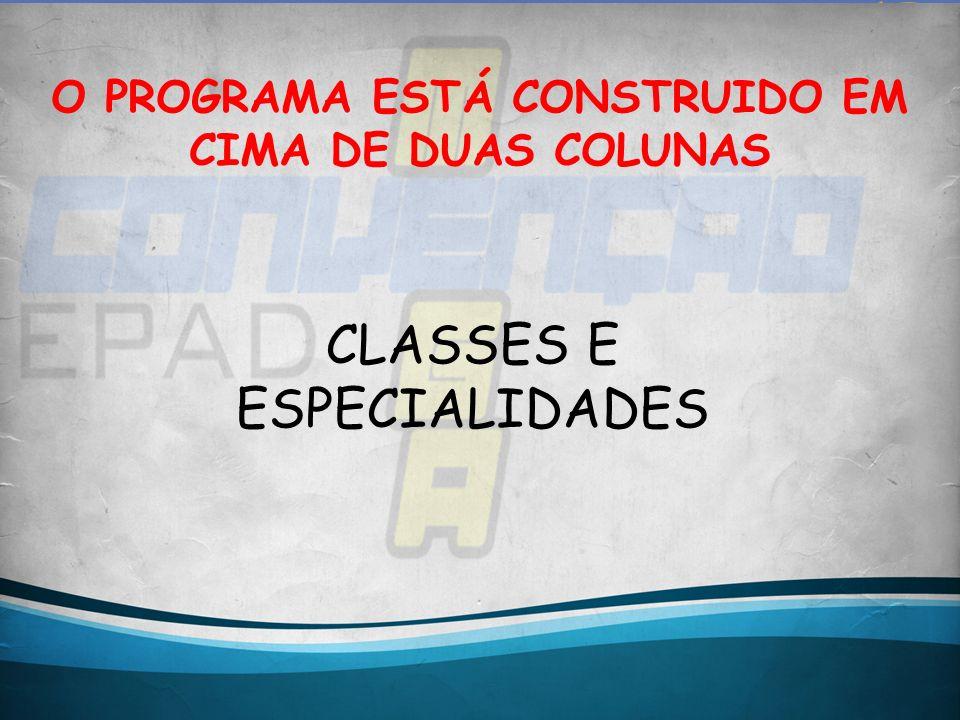 O PROGRAMA ESTÁ CONSTRUIDO EM CIMA DE DUAS COLUNAS CLASSES E ESPECIALIDADES