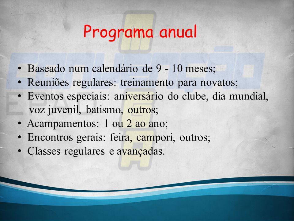 Programa anual Baseado num calendário de 9 - 10 meses; Reuniões regulares: treinamento para novatos; Eventos especiais: aniversário do clube, dia mund