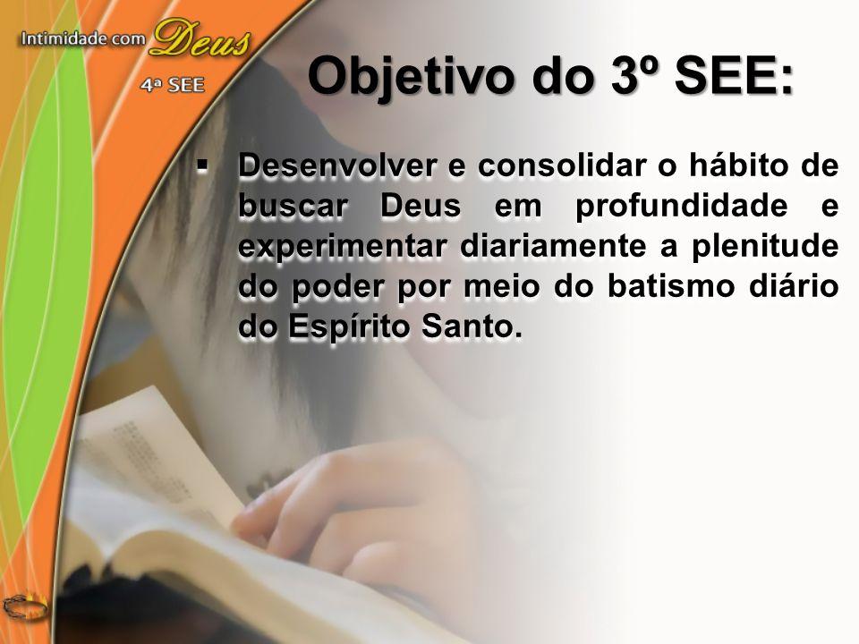 Objetivo do 4º SEE: Desenvolver e consolidar o hábito de permanecer na presença de Cristo desde a primeira até a última hora de cada dia.