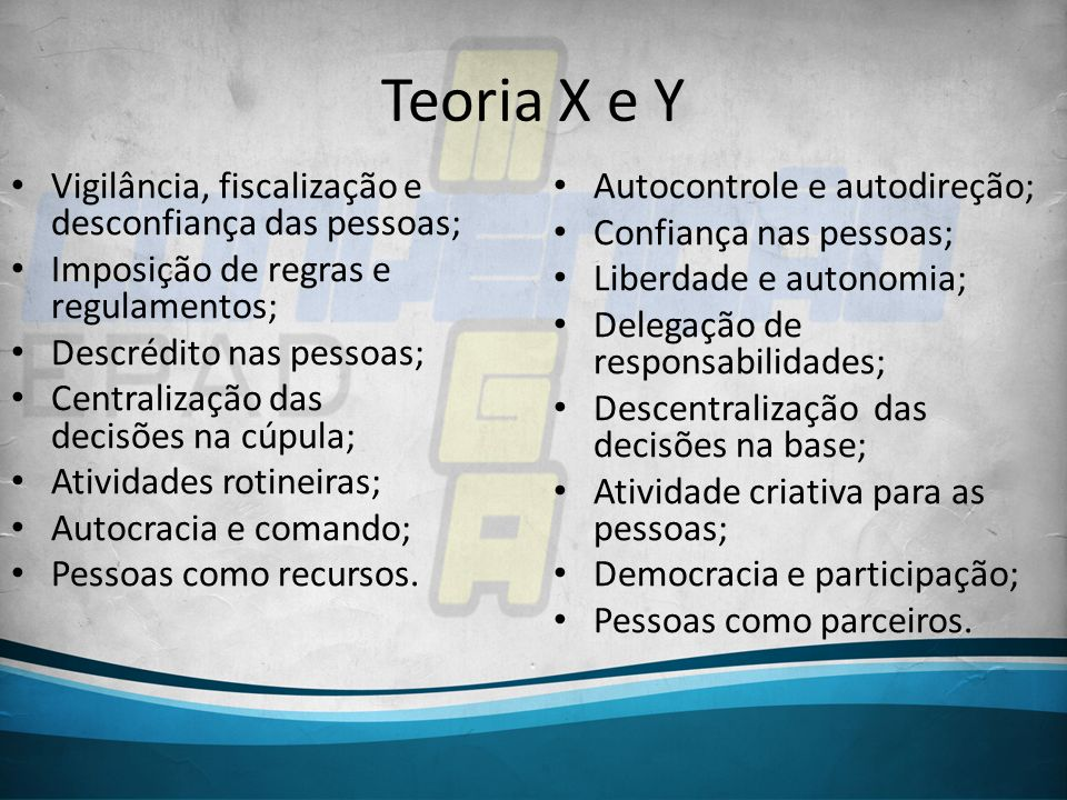 Teoria X e Y Vigilância, fiscalização e desconfiança das pessoas; Imposição de regras e regulamentos; Descrédito nas pessoas; Centralização das decisõ
