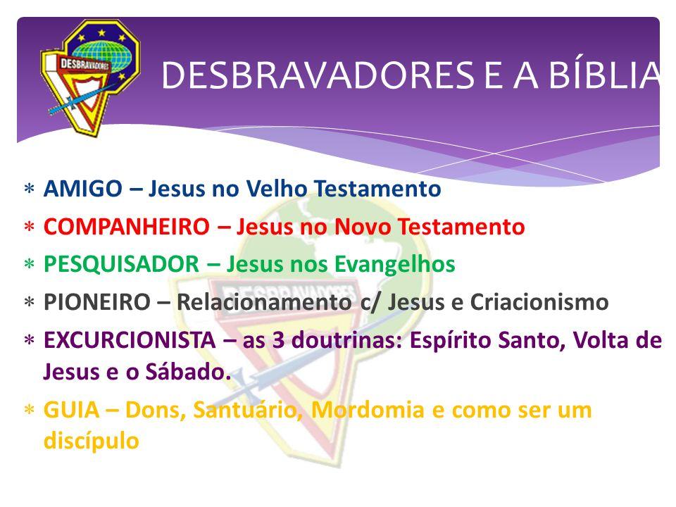 AMIGO – Jesus no Velho Testamento COMPANHEIRO – Jesus no Novo Testamento PESQUISADOR – Jesus nos Evangelhos PIONEIRO – Relacionamento c/ Jesus e Criac