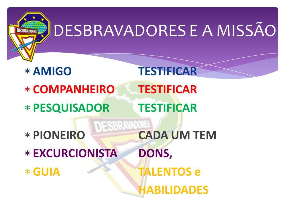 AMIGOTESTIFICAR COMPANHEIROTESTIFICAR PESQUISADORTESTIFICAR PIONEIROCADA UM TEM EXCURCIONISTADONS, GUIATALENTOS e HABILIDADES DESBRAVADORES E A MISSÃO