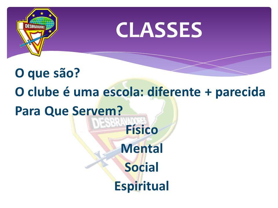 O que são? O clube é uma escola: diferente + parecida Para Que Servem? Físico Mental Social Espiritual CLASSES