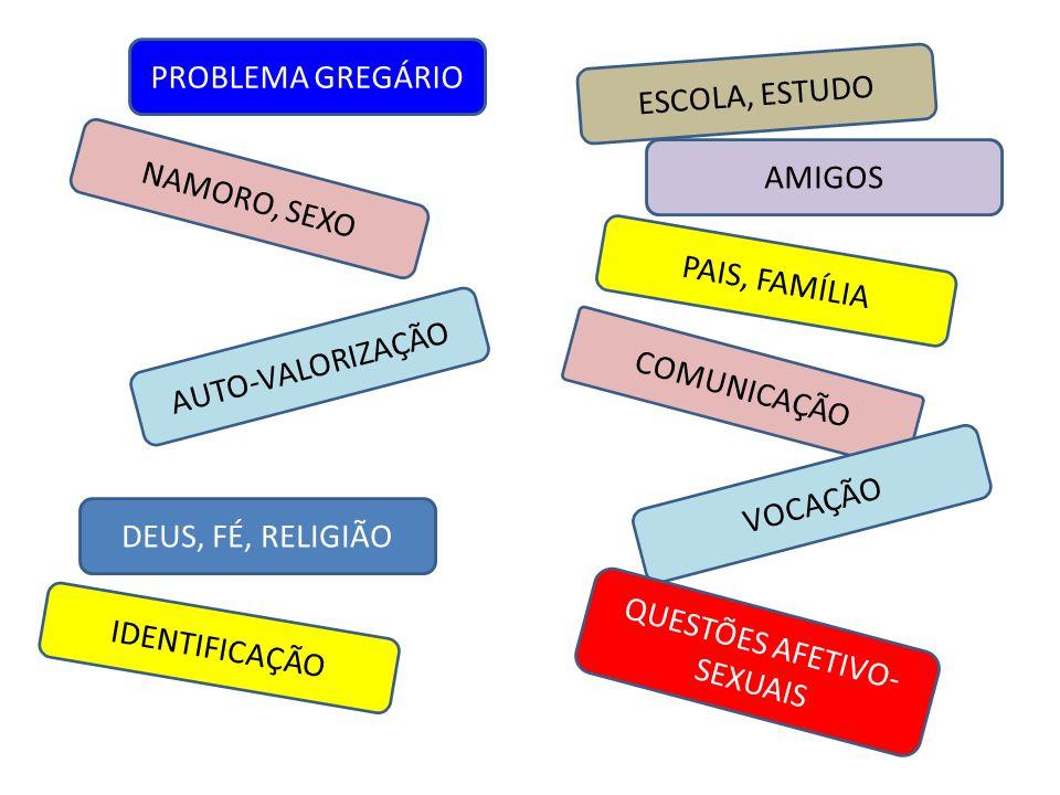 NAMORO, SEXO AUTO-VALORIZAÇÃO ESCOLA, ESTUDO AMIGOS DEUS, FÉ, RELIGIÃO PAIS, FAMÍLIA PROBLEMA GREGÁRIO COMUNICAÇÃO IDENTIFICAÇÃO VOCAÇÃO QUESTÕES AFET