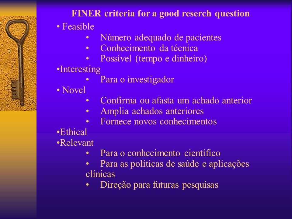 FINER criteria for a good reserch question Feasible Número adequado de pacientes Conhecimento da técnica Possível (tempo e dinheiro) Interesting Para