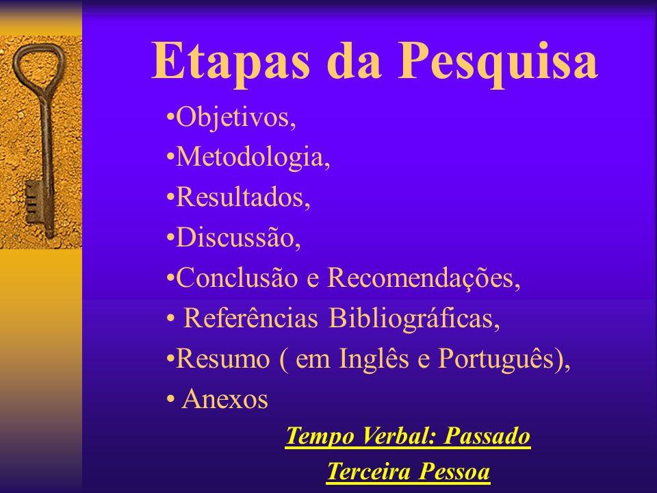 Etapas da Pesquisa Objetivos, Metodologia, Resultados, Discussão, Conclusão e Recomendações, Referências Bibliográficas, Resumo ( em Inglês e Portuguê