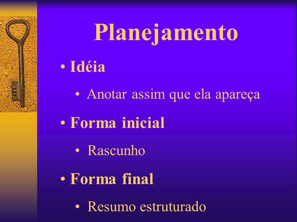 Planejamento Idéia Anotar assim que ela apareça Forma inicial Rascunho Forma final Resumo estruturado
