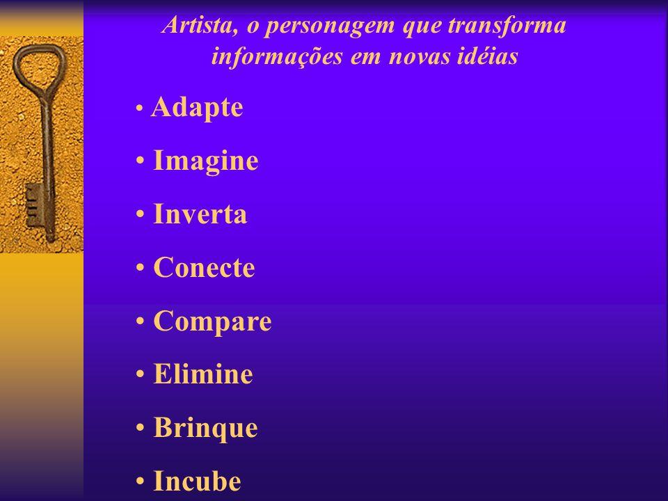 Artista, o personagem que transforma informações em novas idéias Adapte Imagine Inverta Conecte Compare Elimine Brinque Incube