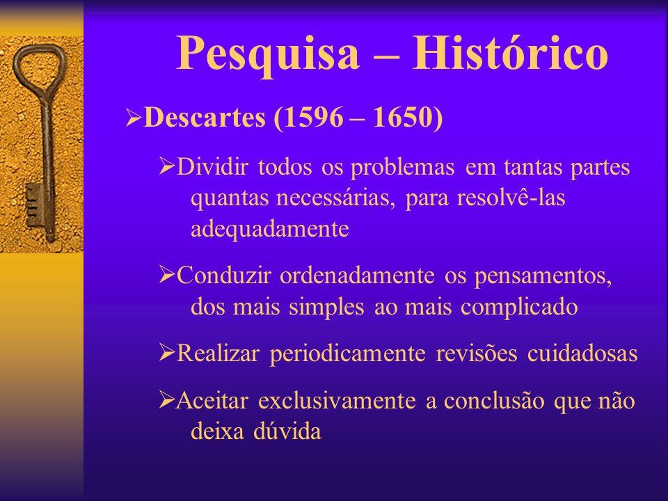 Pesquisa – Histórico Descartes (1596 – 1650) Dividir todos os problemas em tantas partes quantas necessárias, para resolvê-las adequadamente Conduzir