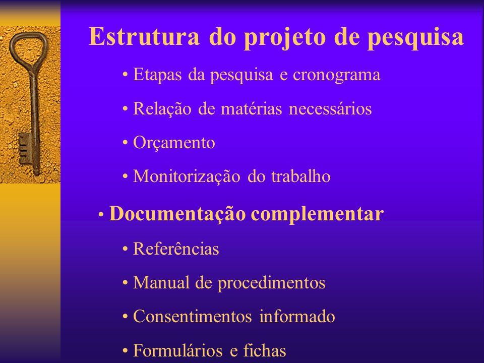 Estrutura do projeto de pesquisa Etapas da pesquisa e cronograma Relação de matérias necessários Orçamento Monitorização do trabalho Documentação comp