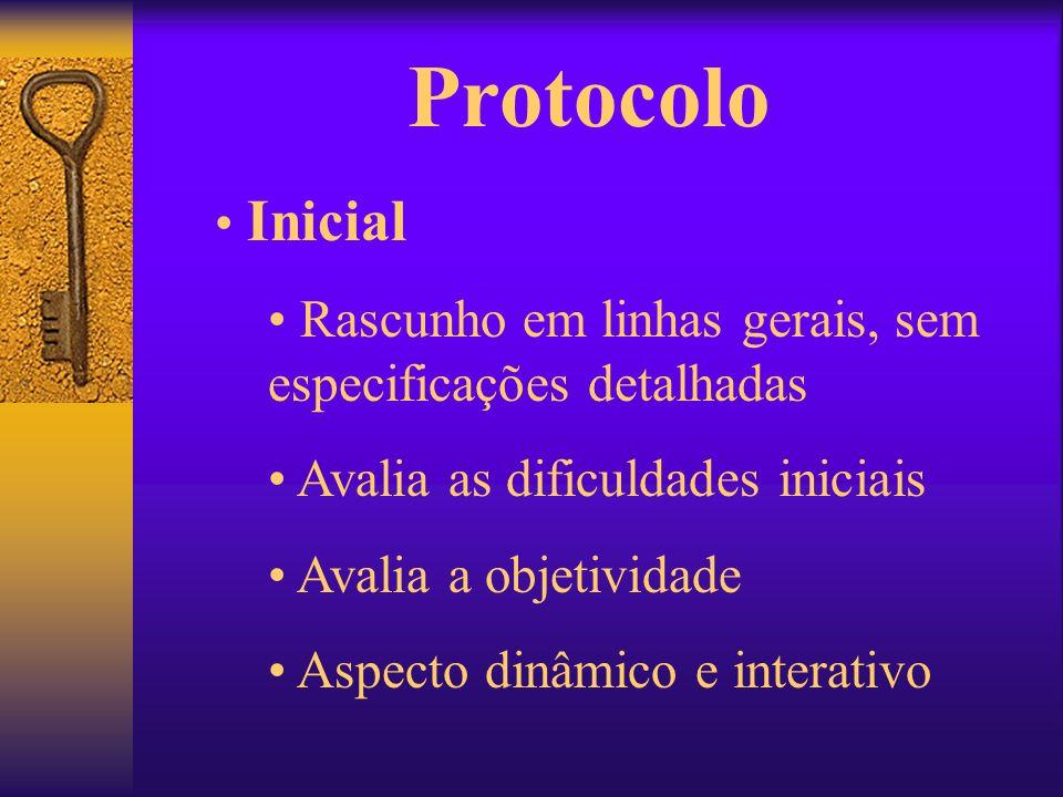 Protocolo Inicial Rascunho em linhas gerais, sem especificações detalhadas Avalia as dificuldades iniciais Avalia a objetividade Aspecto dinâmico e in
