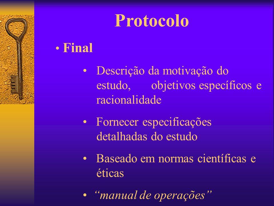 Protocolo Final Descrição da motivação do estudo, objetivos específicos e racionalidade Fornecer especificações detalhadas do estudo Baseado em normas